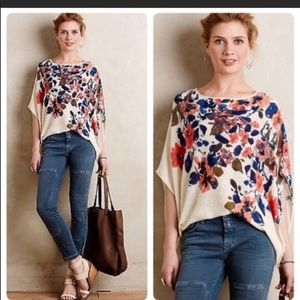 Anthropologie Moth Floral Lightweight Sweater Top